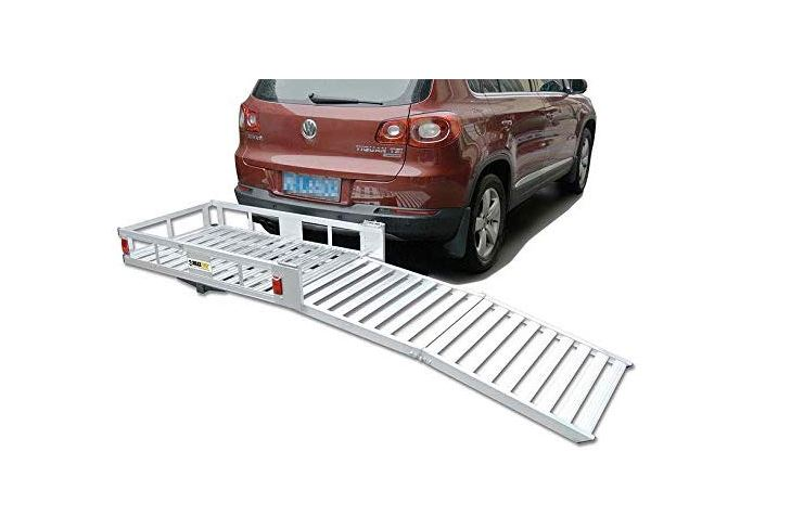 maxxhaul 70275 aluminum cargo carrier with 60 folding ramp