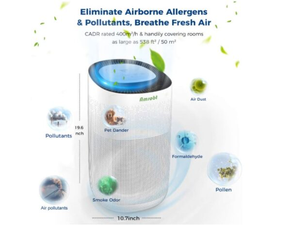 Amrobt Smart Wi-Fi Air Purifier for Home Large Room with True HEPA Filter - BestCartReviews